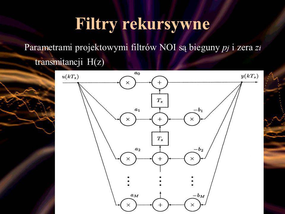 Filtry rekursywne Parametrami projektowymi filtrów NOI są bieguny pj i zera zi transmitancji H(z)