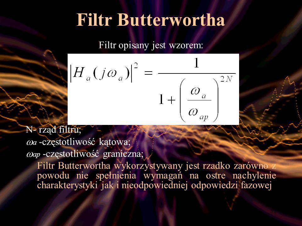 Filtr opisany jest wzorem:
