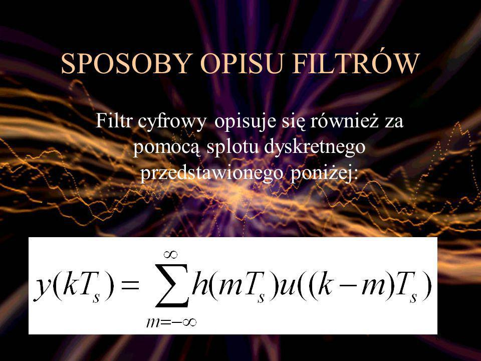 SPOSOBY OPISU FILTRÓWFiltr cyfrowy opisuje się również za pomocą splotu dyskretnego przedstawionego poniżej: