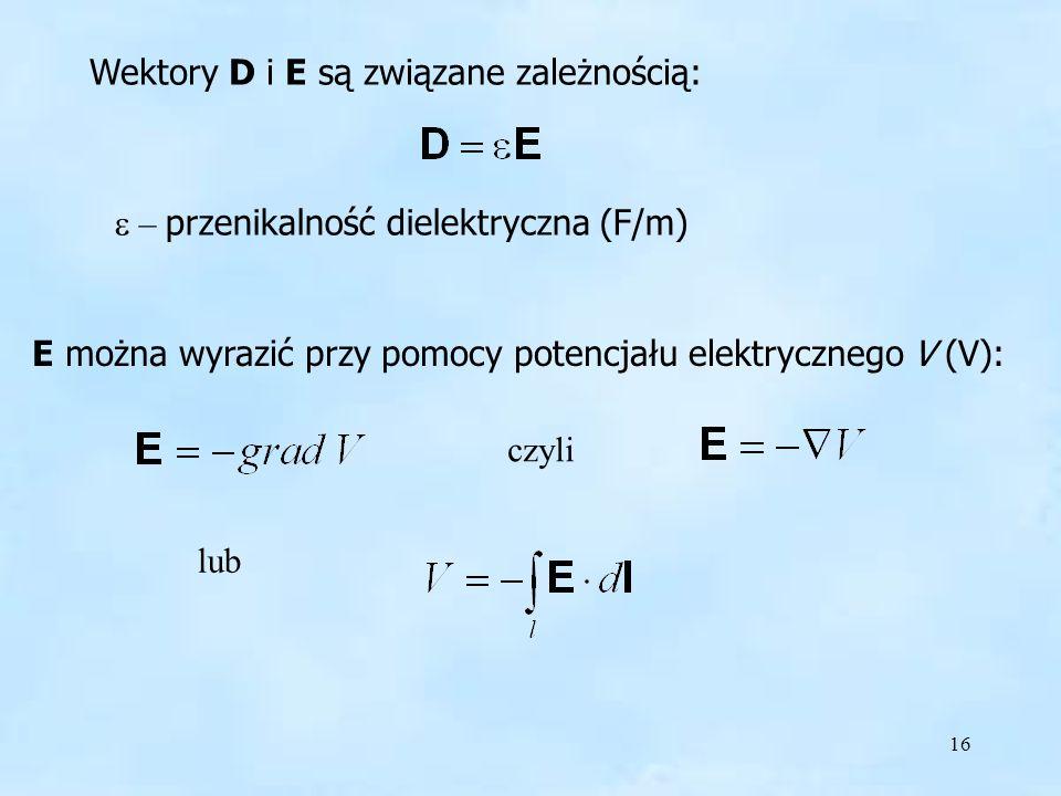 Wektory D i E są związane zależnością:
