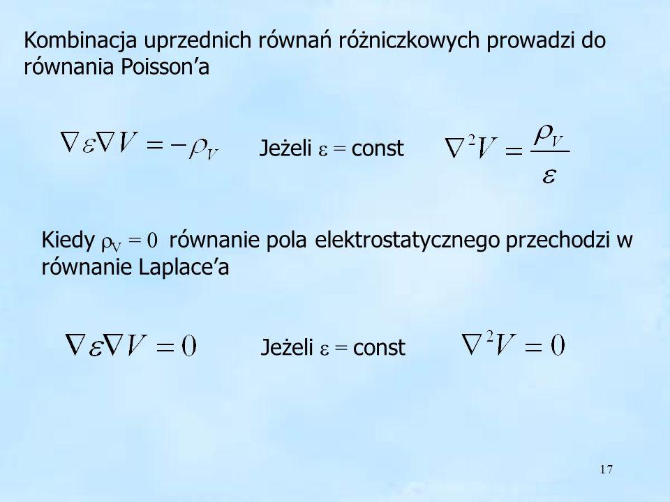 Kombinacja uprzednich równań różniczkowych prowadzi do równania Poisson'a