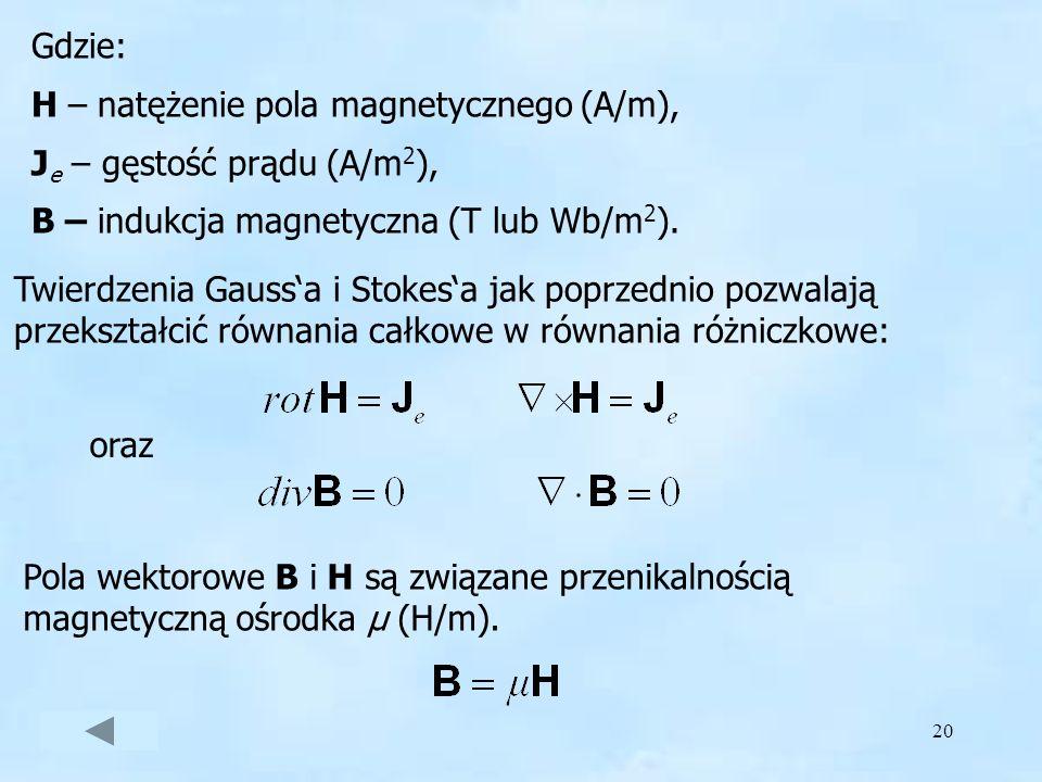 Gdzie: H – natężenie pola magnetycznego (A/m), Je – gęstość prądu (A/m2), B – indukcja magnetyczna (T lub Wb/m2).