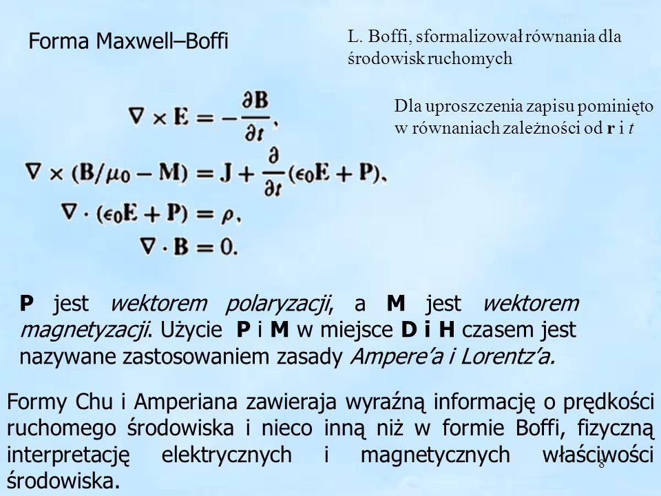 Forma Maxwell–Boffi Forma Maxwell–Boffi. L. Boffi, sformalizował równania dla środowisk ruchomych.