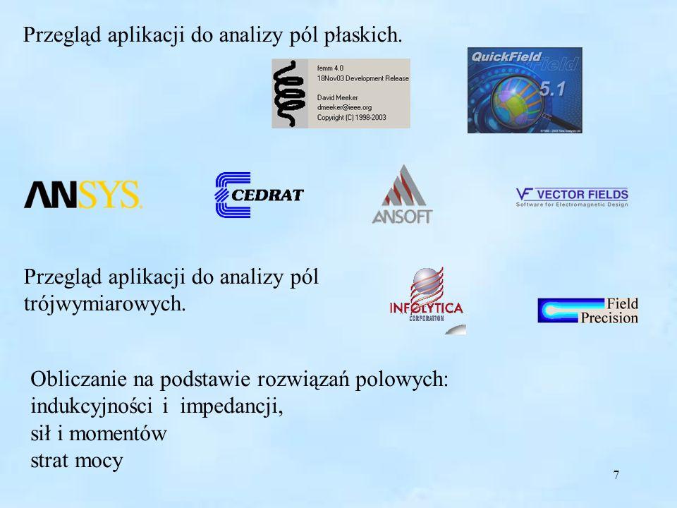 Przegląd aplikacji do analizy pól płaskich.