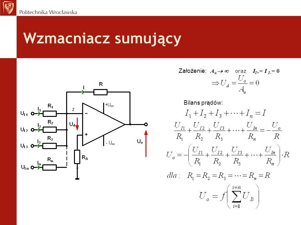 Wzmacniacz sumujący Założenie: Au  oraz II+= I I-= 0 Bilans prądów: