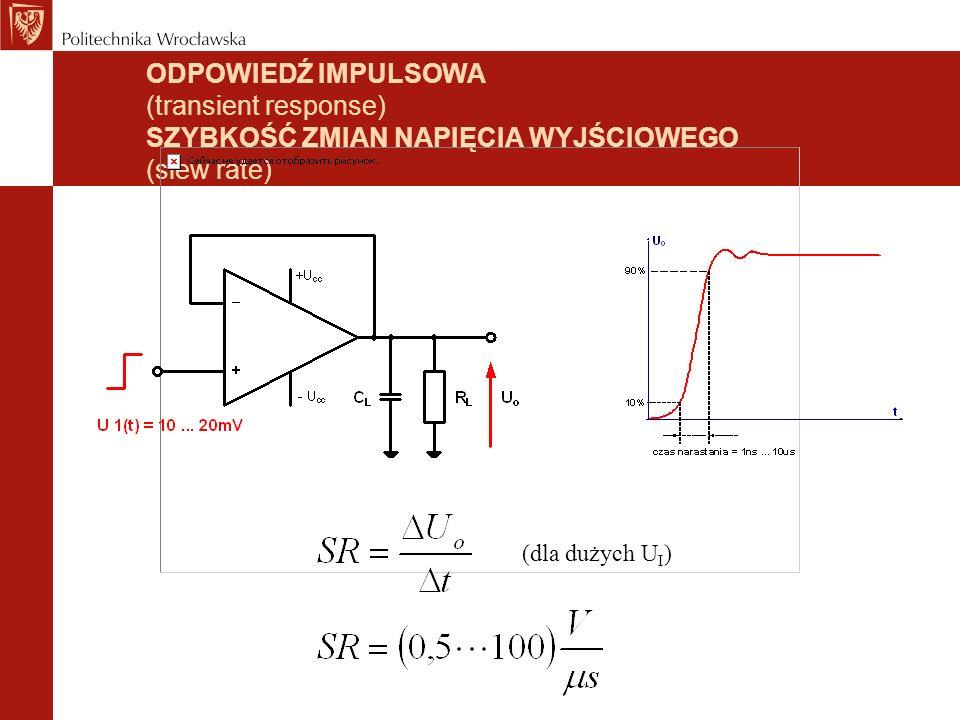 ODPOWIEDŹ IMPULSOWA (transient response) SZYBKOŚĆ ZMIAN NAPIĘCIA WYJŚCIOWEGO (slew rate)