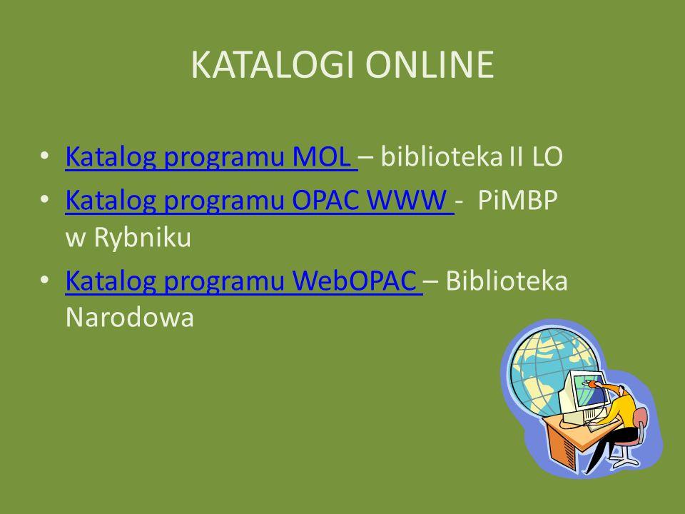 KATALOGI ONLINE Katalog programu MOL – biblioteka II LO