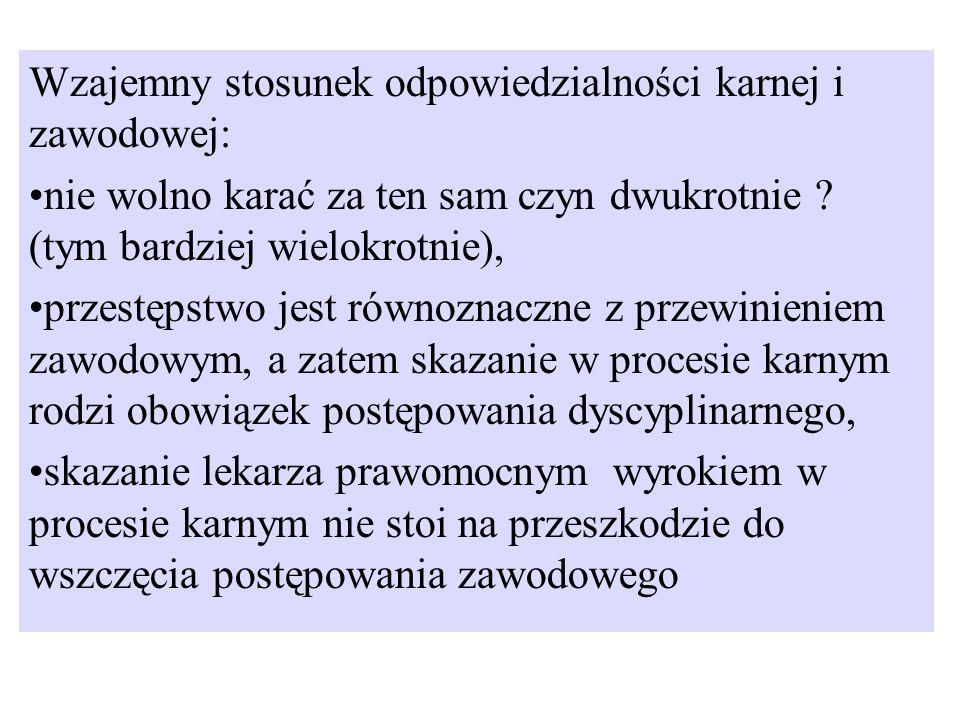 Wzajemny stosunek odpowiedzialności karnej i zawodowej: