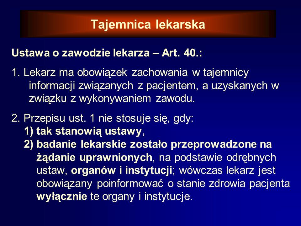 Tajemnica lekarska Ustawa o zawodzie lekarza – Art. 40.: