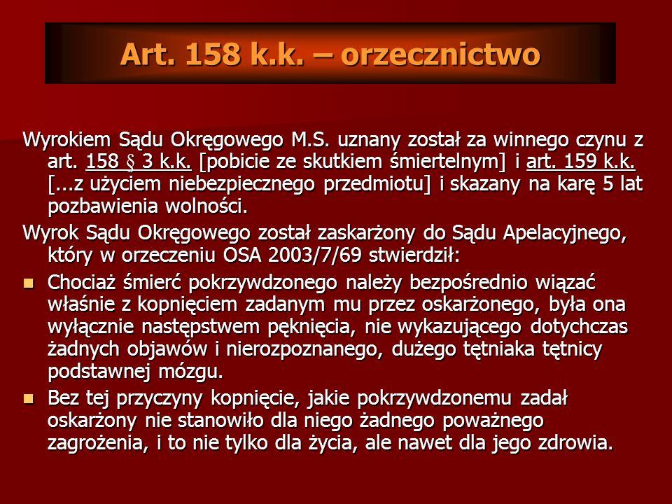 Art. 158 k.k. – orzecznictwo