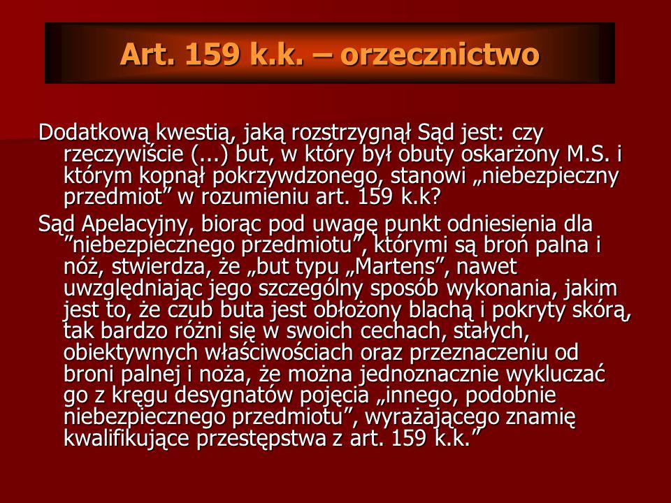 Art. 159 k.k. – orzecznictwo