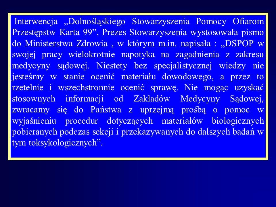 """Interwencja """"Dolnośląskiego Stowarzyszenia Pomocy Ofiarom Przestępstw Karta 99 ."""