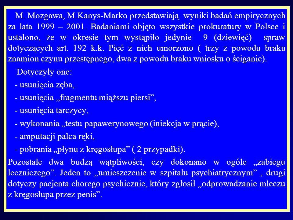 M. Mozgawa, M.Kanys-Marko przedstawiają wyniki badań empirycznych za lata 1999 – 2001. Badaniami objęto wszystkie prokuratury w Polsce i ustalono, że w okresie tym wystąpiło jedynie 9 (dziewięć) spraw dotyczących art. 192 k.k. Pięć z nich umorzono ( trzy z powodu braku znamion czynu przestępnego, dwa z powodu braku wniosku o ściganie).