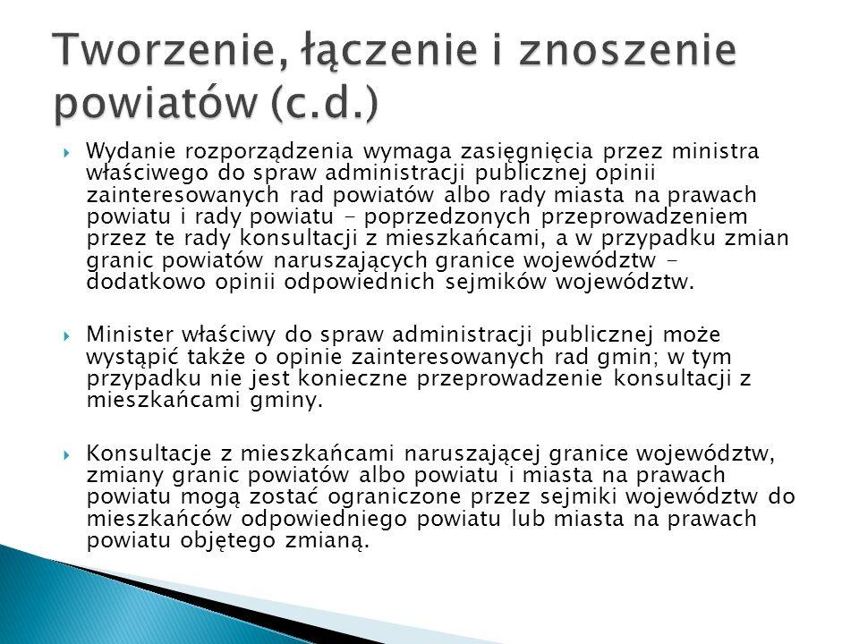 Tworzenie, łączenie i znoszenie powiatów (c.d.)