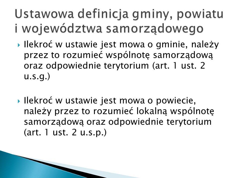 Ustawowa definicja gminy, powiatu i województwa samorządowego