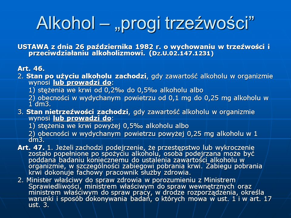 """Alkohol – """"progi trzeźwości"""