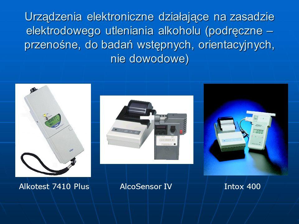 Urządzenia elektroniczne działające na zasadzie elektrodowego utleniania alkoholu (podręczne – przenośne, do badań wstępnych, orientacyjnych, nie dowodowe)