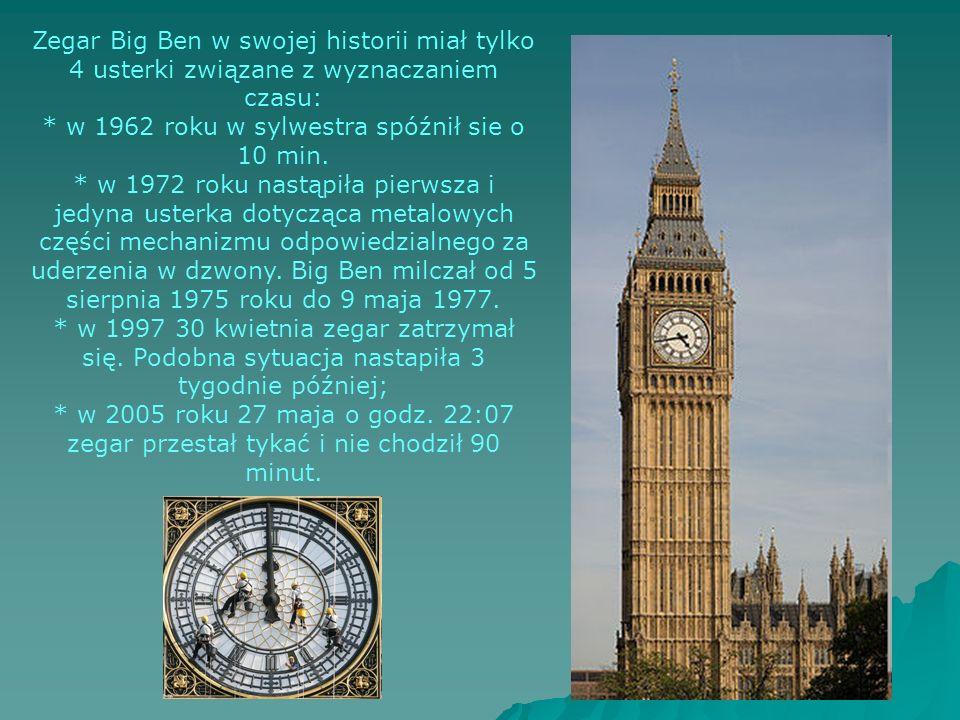 Zegar Big Ben w swojej historii miał tylko 4 usterki związane z wyznaczaniem czasu: * w 1962 roku w sylwestra spóźnił sie o 10 min.