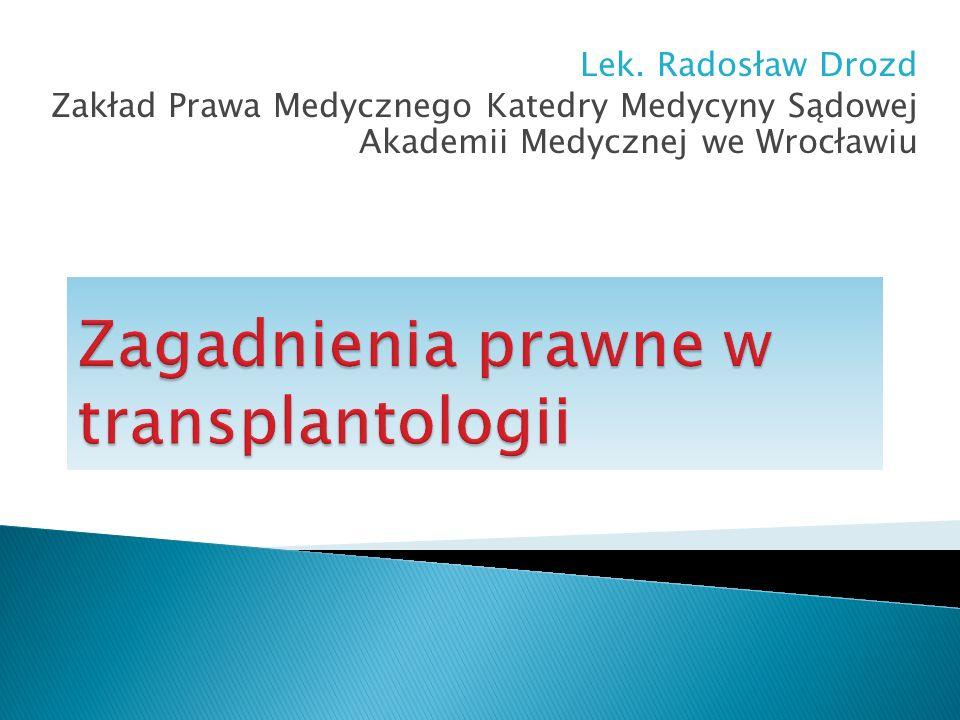 Zagadnienia prawne w transplantologii