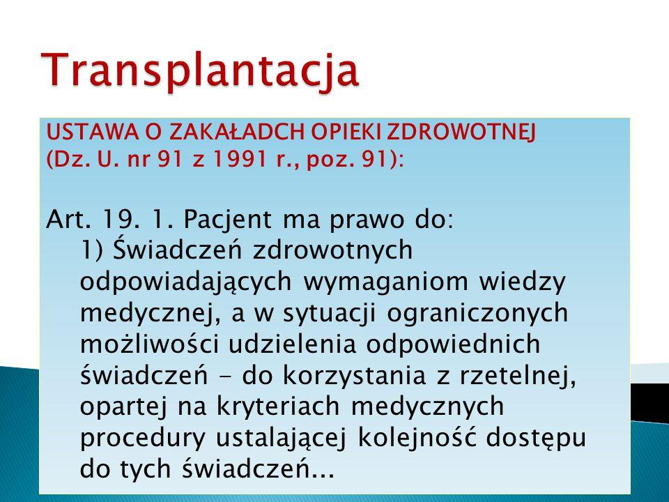 Transplantacja Art. 19. 1. Pacjent ma prawo do: