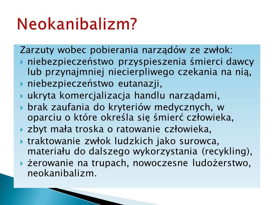 Neokanibalizm Zarzuty wobec pobierania narządów ze zwłok: