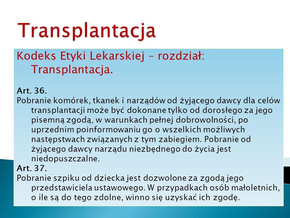 Transplantacja Kodeks Etyki Lekarskiej – rozdział: Transplantacja.
