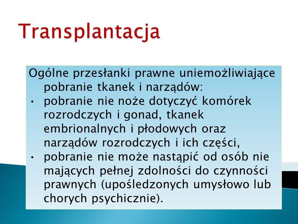 Transplantacja Ogólne przesłanki prawne uniemożliwiające pobranie tkanek i narządów:
