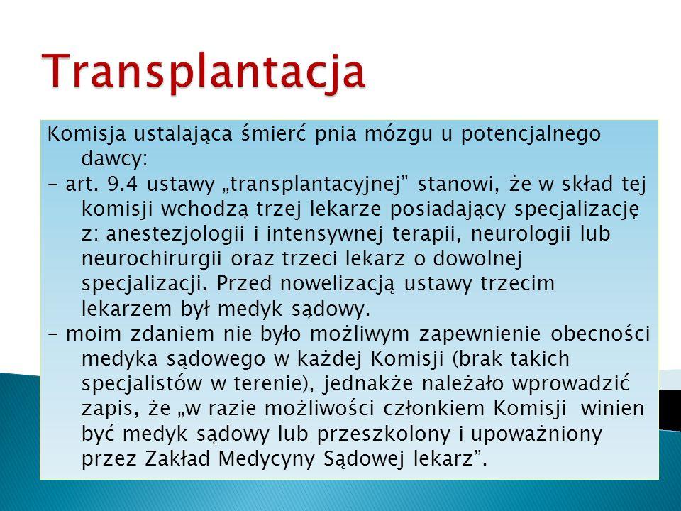 Transplantacja Komisja ustalająca śmierć pnia mózgu u potencjalnego dawcy: