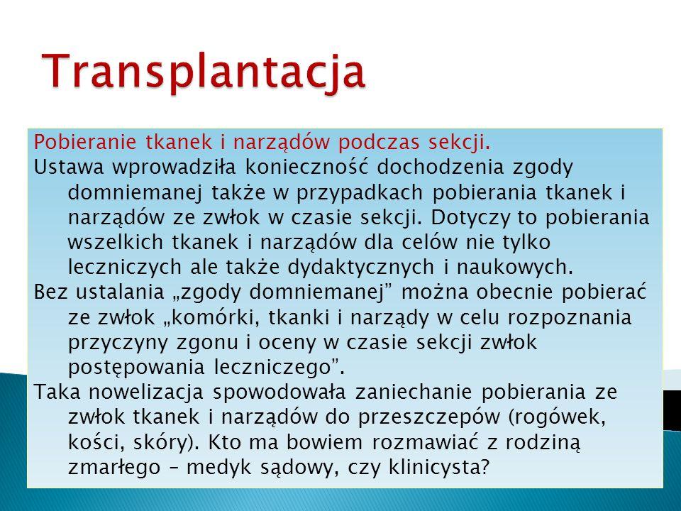 Transplantacja Pobieranie tkanek i narządów podczas sekcji.