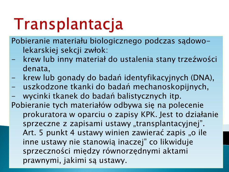 Transplantacja Pobieranie materiału biologicznego podczas sądowo-lekarskiej sekcji zwłok: