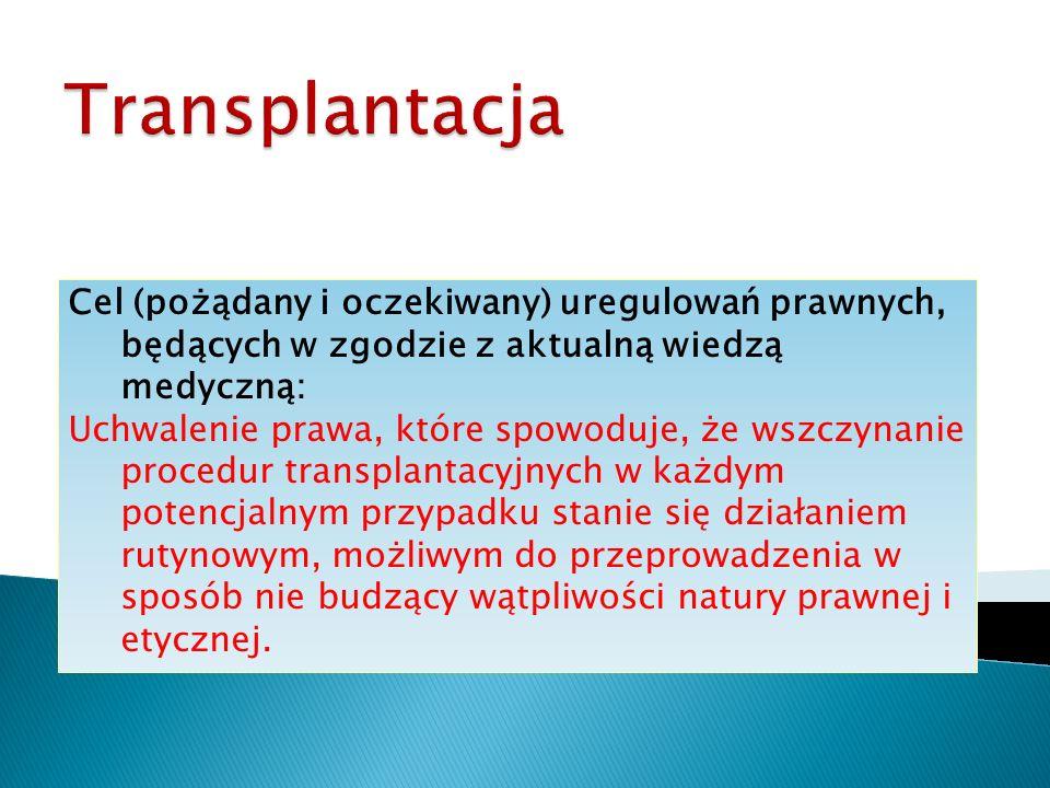 Transplantacja Cel (pożądany i oczekiwany) uregulowań prawnych, będących w zgodzie z aktualną wiedzą medyczną: