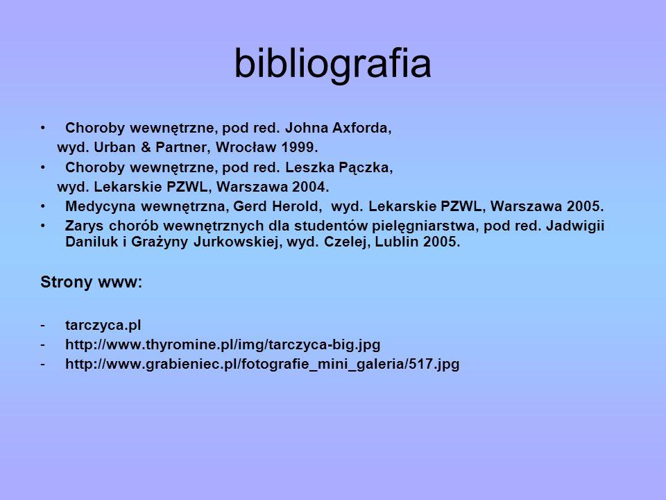 bibliografia Strony www: Choroby wewnętrzne, pod red. Johna Axforda,