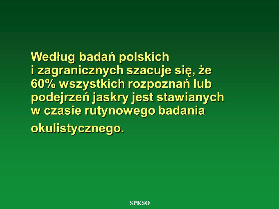 Według badań polskich i zagranicznych szacuje się, że 60% wszystkich rozpoznań lub podejrzeń jaskry jest stawianych w czasie rutynowego badania okulistycznego.