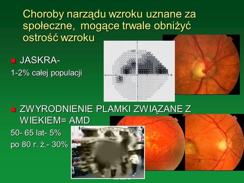 Choroby narządu wzroku uznane za społeczne, mogące trwale obniżyć ostrość wzroku