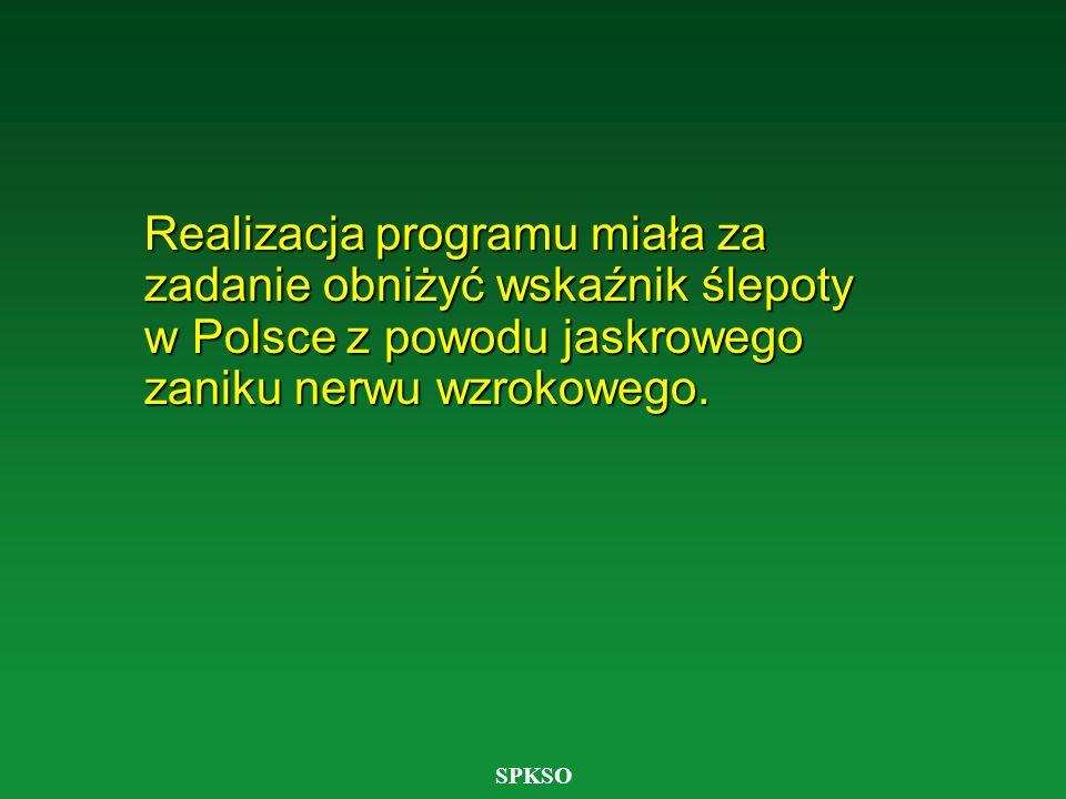 Realizacja programu miała za zadanie obniżyć wskaźnik ślepoty w Polsce z powodu jaskrowego zaniku nerwu wzrokowego.