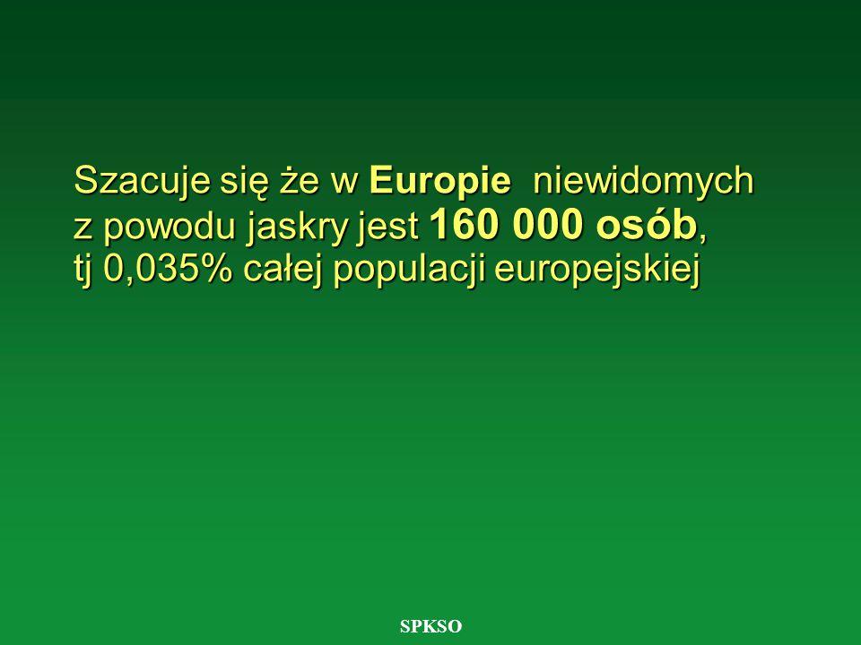 Szacuje się że w Europie niewidomych z powodu jaskry jest 160 000 osób, tj 0,035% całej populacji europejskiej