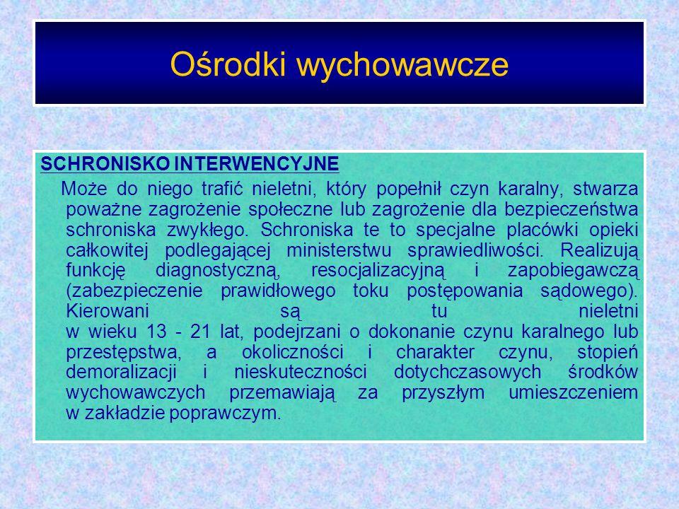 Ośrodki wychowawcze SCHRONISKO INTERWENCYJNE
