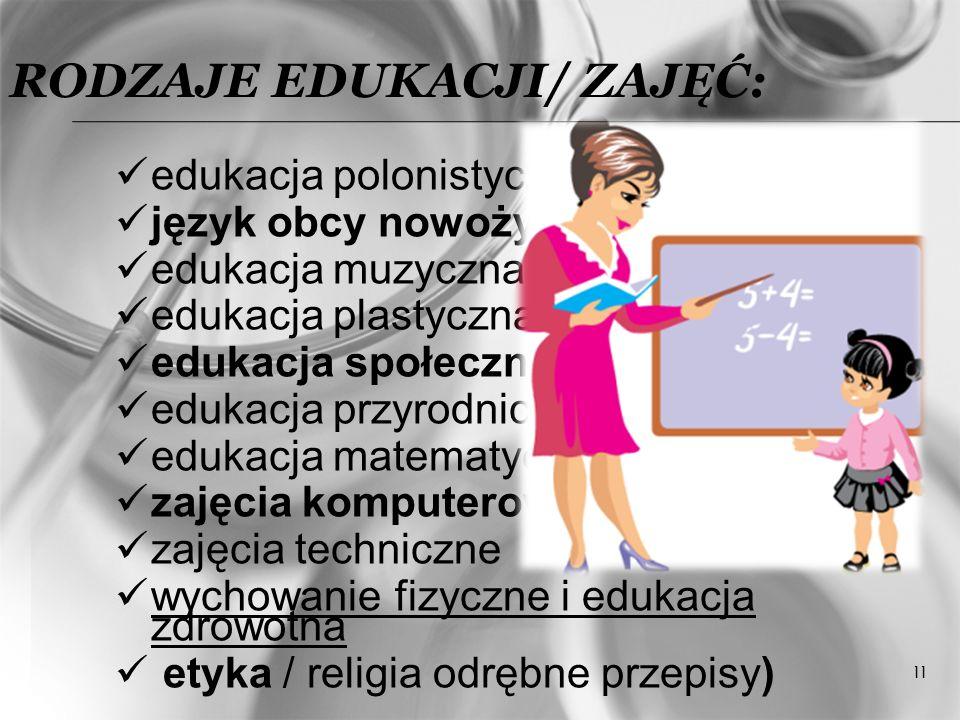 Rodzaje edukacji/ zajęć: