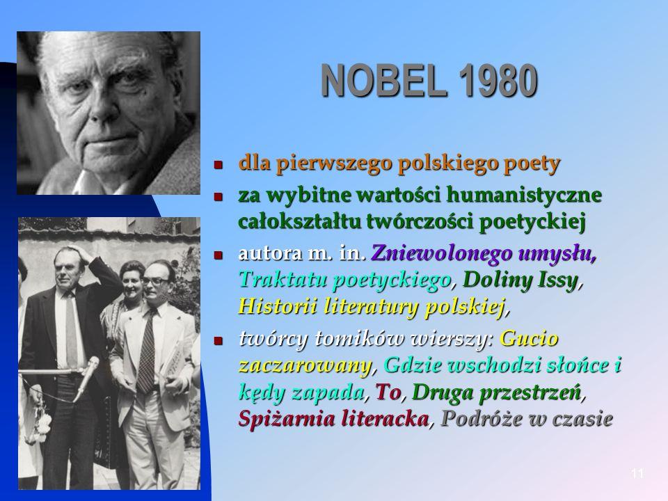 NOBEL 1980 dla pierwszego polskiego poety