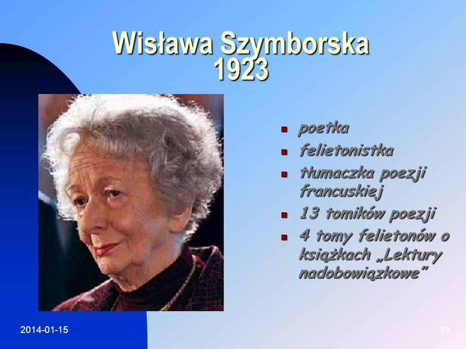 Wisława Szymborska 1923 poetka felietonistka