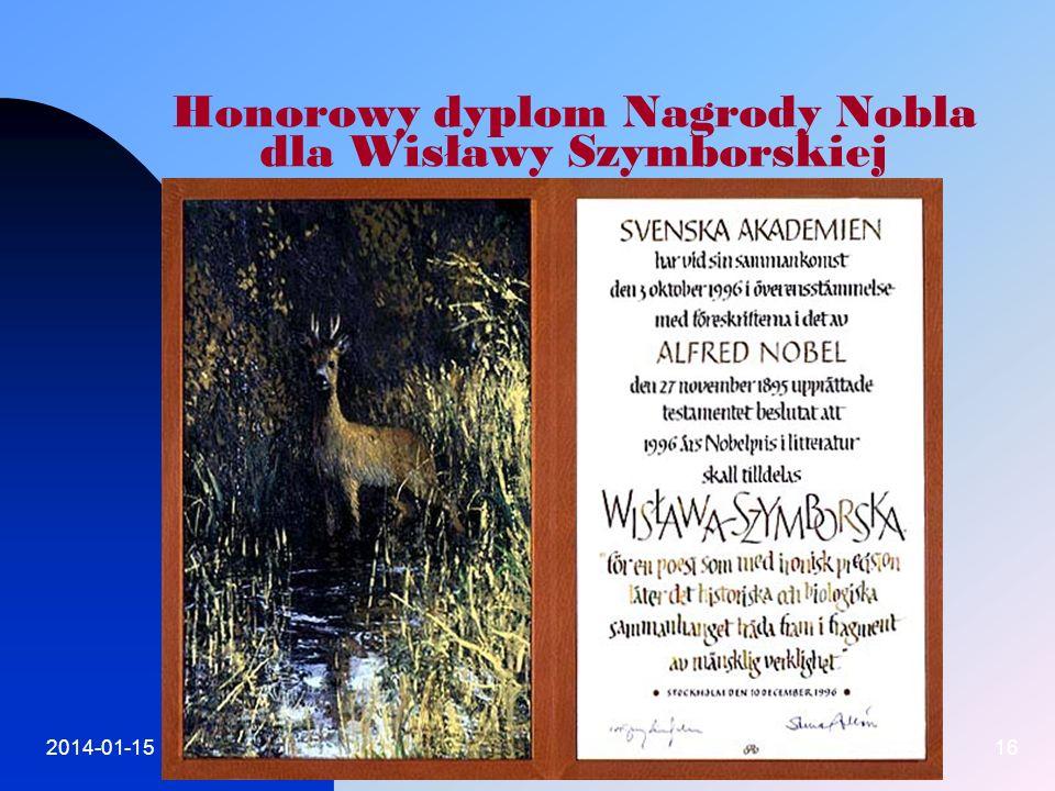Honorowy dyplom Nagrody Nobla dla Wisławy Szymborskiej