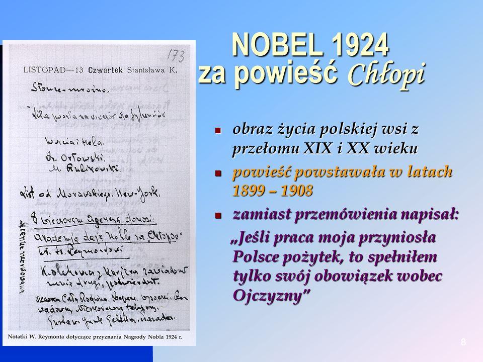 NOBEL 1924 za powieść Chłopi
