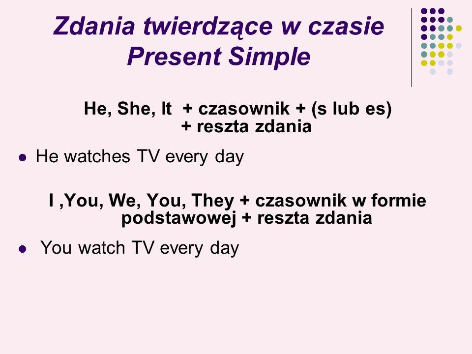 Zdania twierdzące w czasie Present Simple