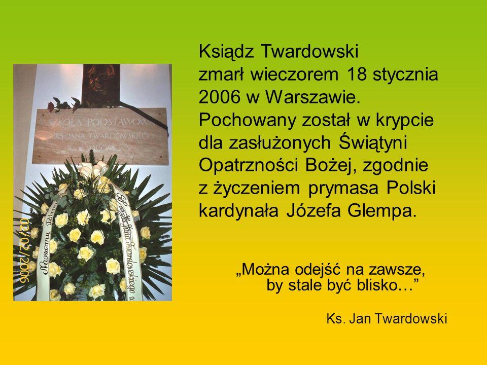 Ksiądz Twardowski zmarł wieczorem 18 stycznia 2006 w Warszawie
