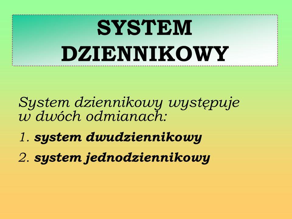 SYSTEM DZIENNIKOWY System dziennikowy występuje w dwóch odmianach: