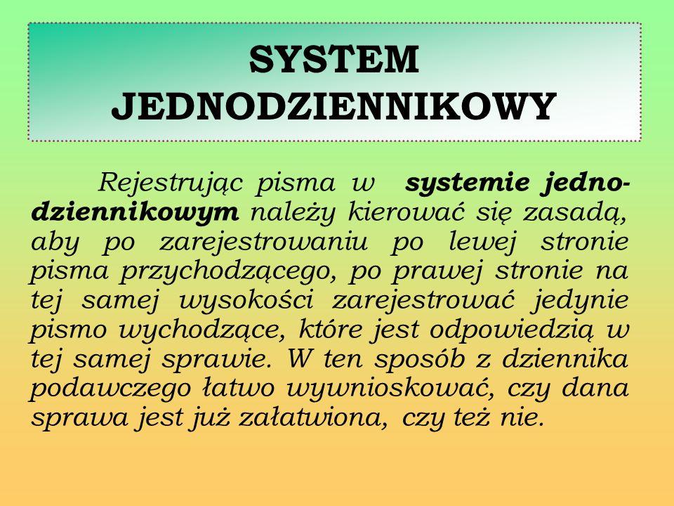 SYSTEM JEDNODZIENNIKOWY