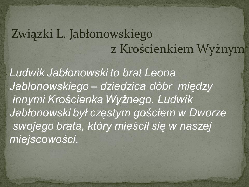 Związki L. Jabłonowskiego z Krościenkiem Wyżnym