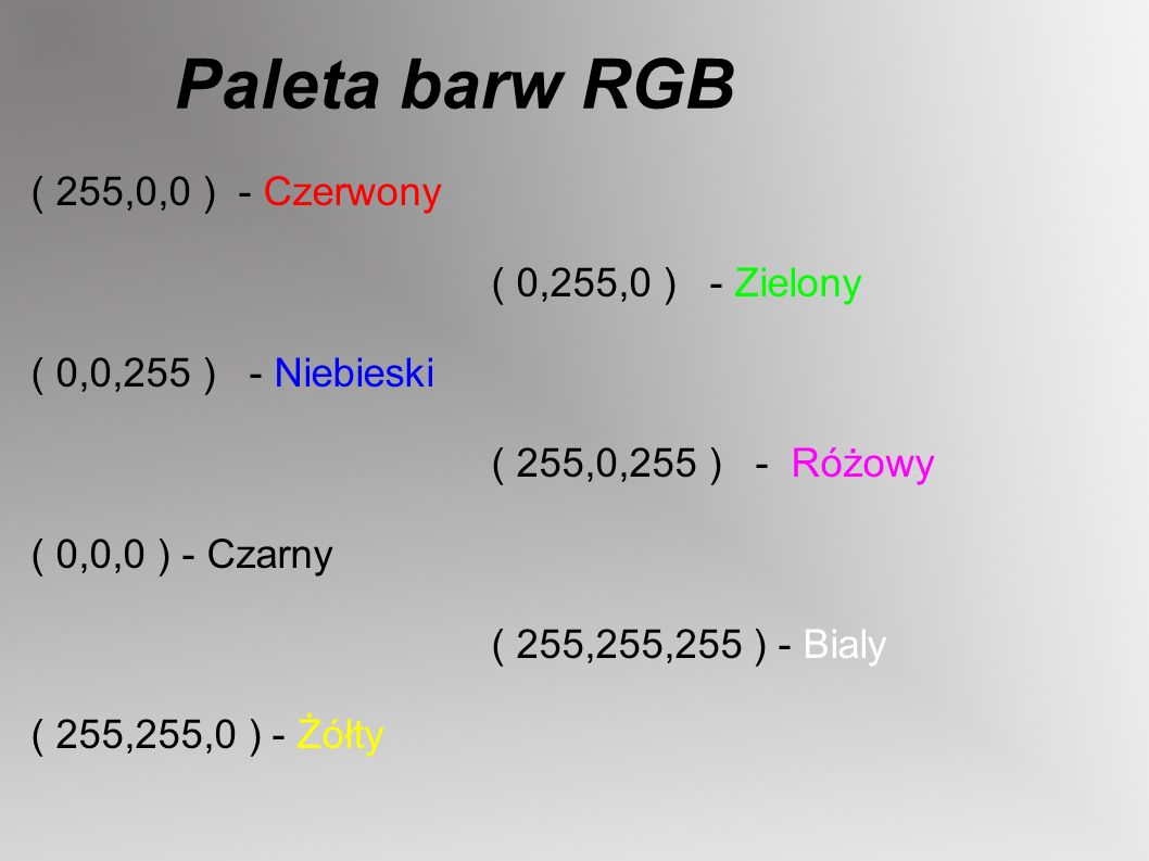 Paleta barw RGB ( 255,0,0 ) - Czerwony ( 0,255,0 ) - Zielony