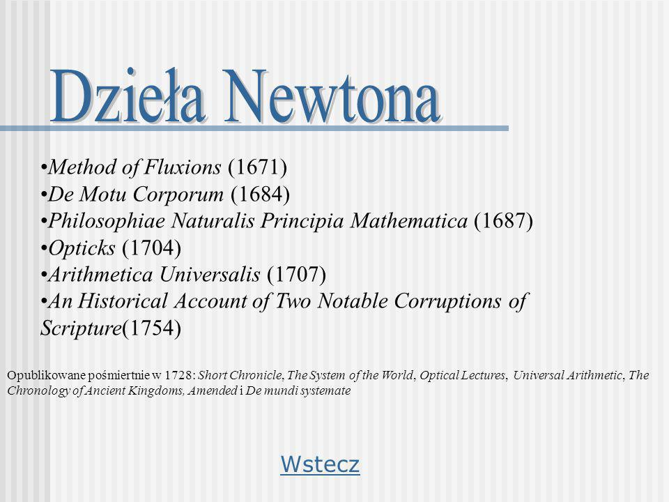 Dzieła Newtona Method of Fluxions (1671) De Motu Corporum (1684)