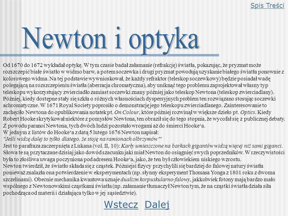 Newton i optyka Wstecz Dalej Spis Treści